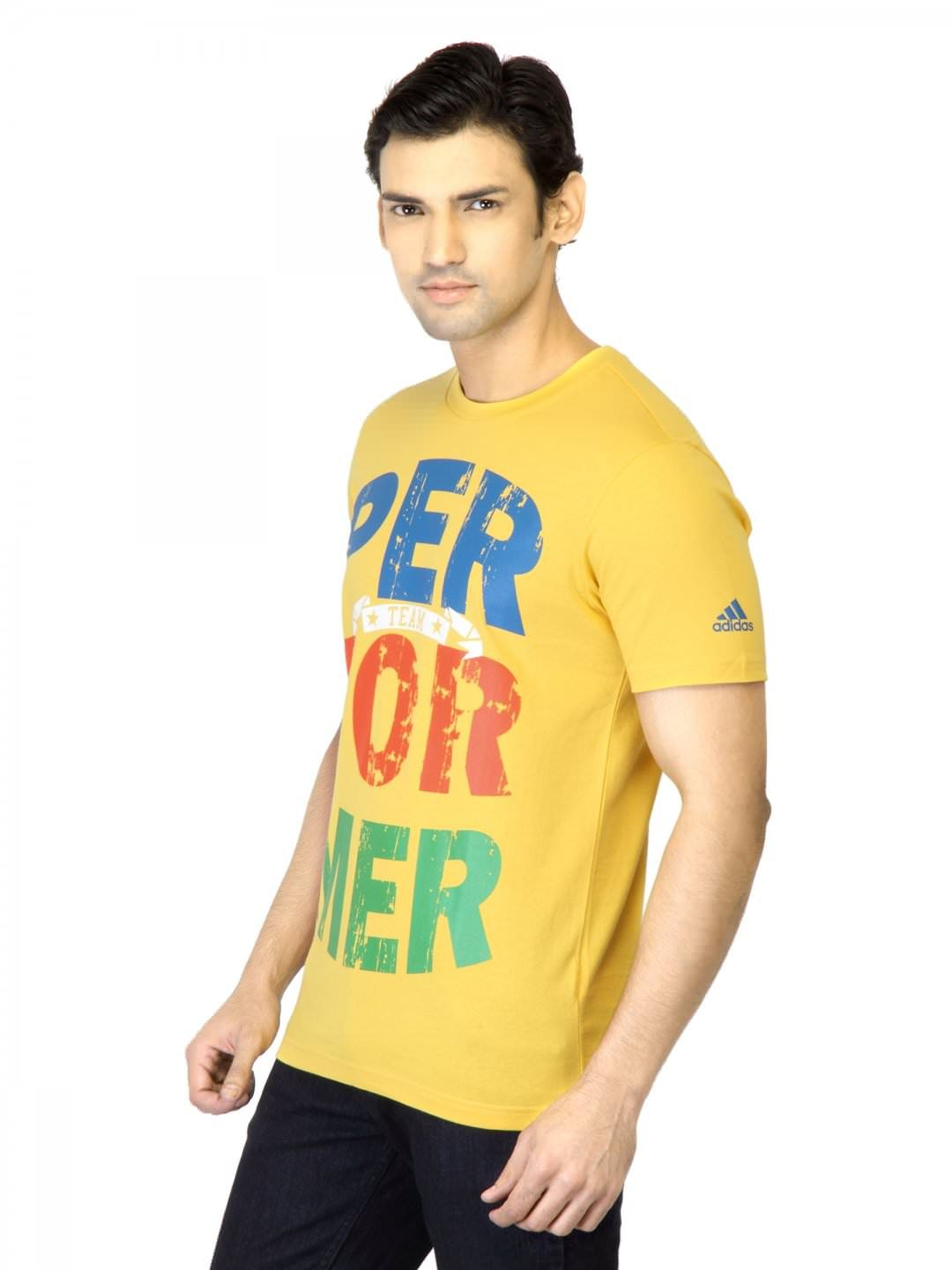 Adidas Men Yellow Printed T-shirt | Myntra