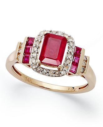 14k Rose Gold Ring, Emerald-Cut Ruby (1-5/8 ct. t.w.) and Diamond (1/5 ct. t.w.) Ring - Rings - Jewelry & Watches - Macy's
