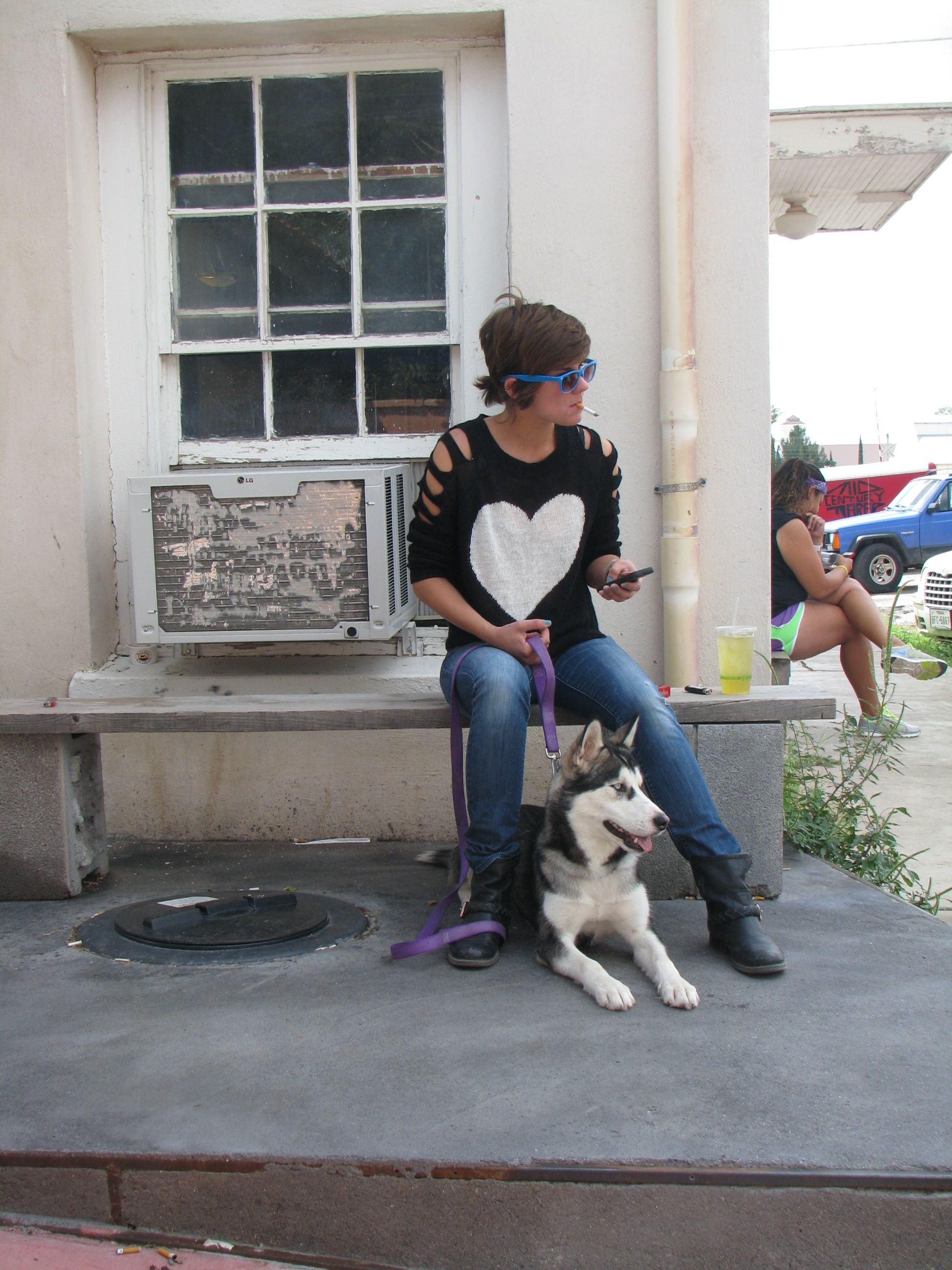 girl and pup at Frama, coffee, ice cream and laundromat