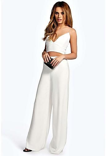 Ladies Co-ord Crop Top Frill Trouser Set Crepe Fabric Loose Palazzo Pants Wide