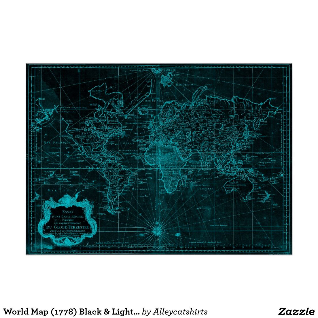 World map 1778 black light blue poster blue poster and black world map 1778 black light blue poster gumiabroncs Images