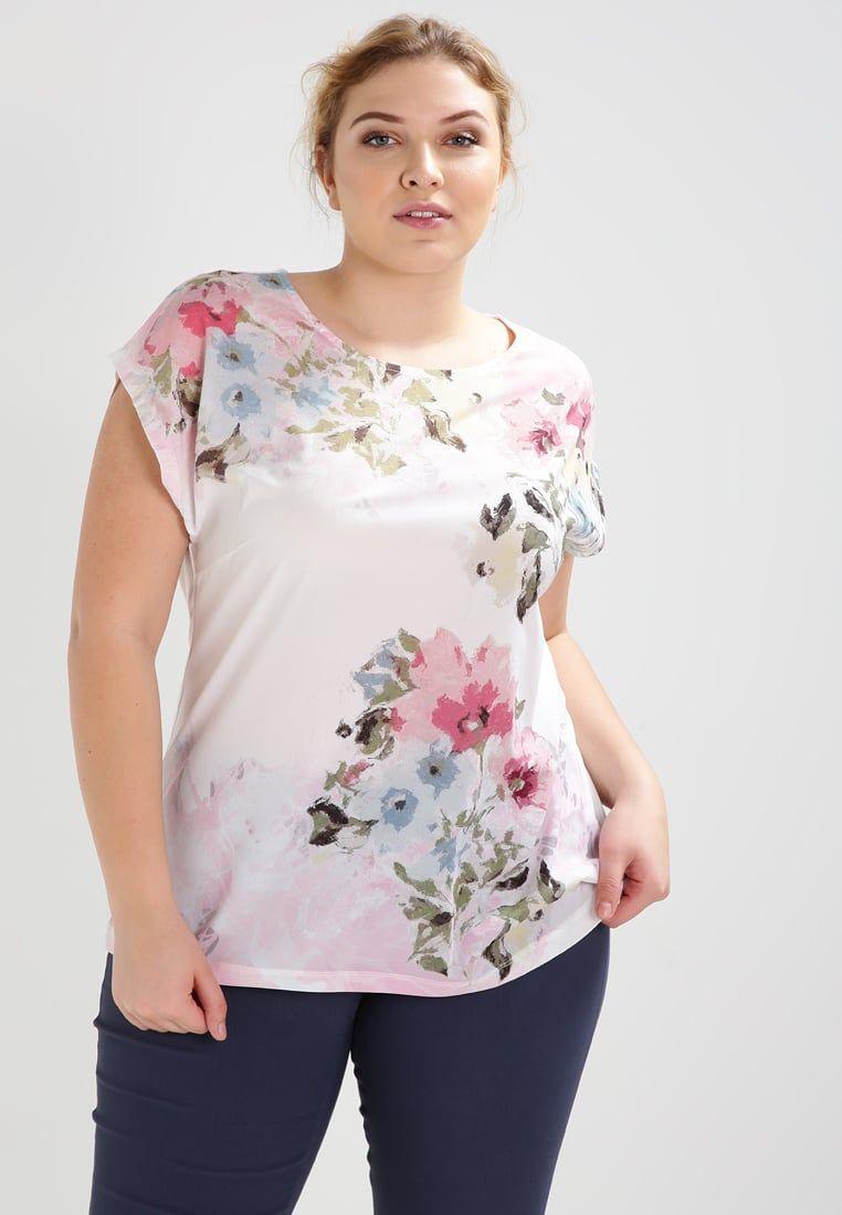 T shirt printing at white rose - Anna Field Curvy T Shirt Z Nadrukiem Off White Rose Zalando