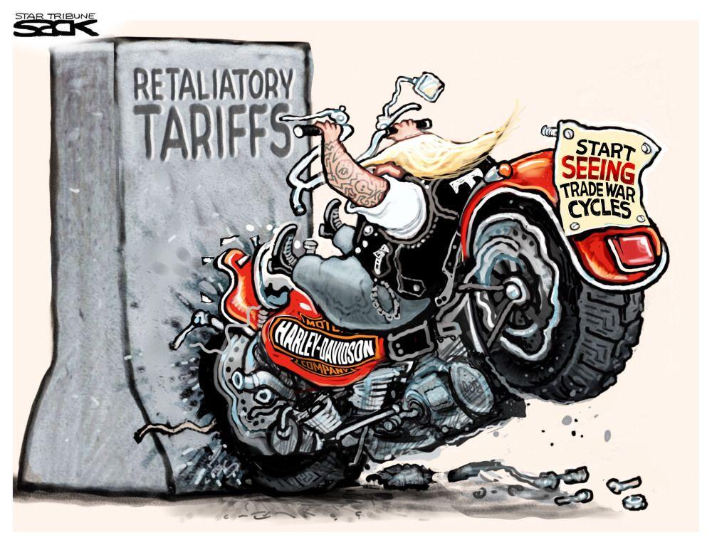 political cartoon u s harley davidson tariffs trade war motorcycle outsource crystal clear to. Black Bedroom Furniture Sets. Home Design Ideas