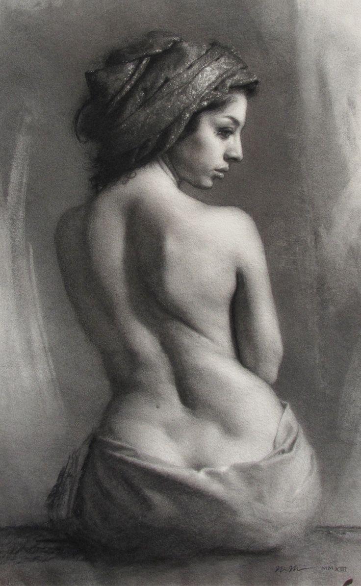 """odalisque""""naomi marino, semi-nude seated female back profile"""