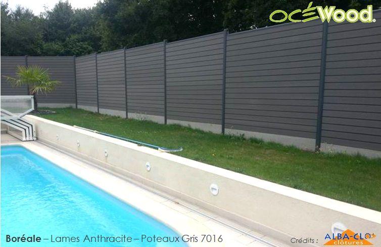 Océwood® - Grande clôture de jardin en bois composite anthracite