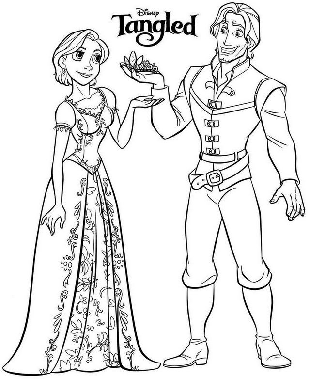 Tangled Rapunzel Short Hair And Flynn Coloring Page Rapunzel Coloring Pages Disney Coloring Pages Elsa Coloring Pages