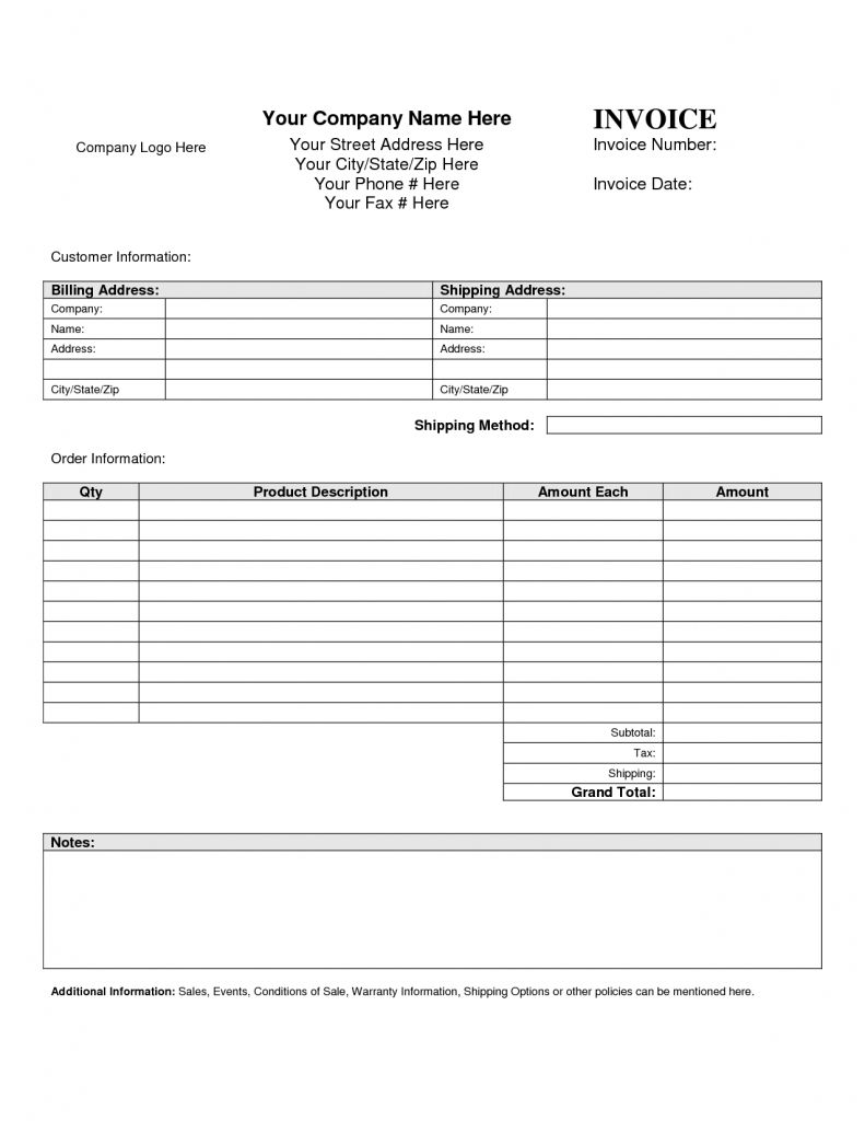 Blank Invoice Template Blankinvoice Simple Invoice Template Pdf