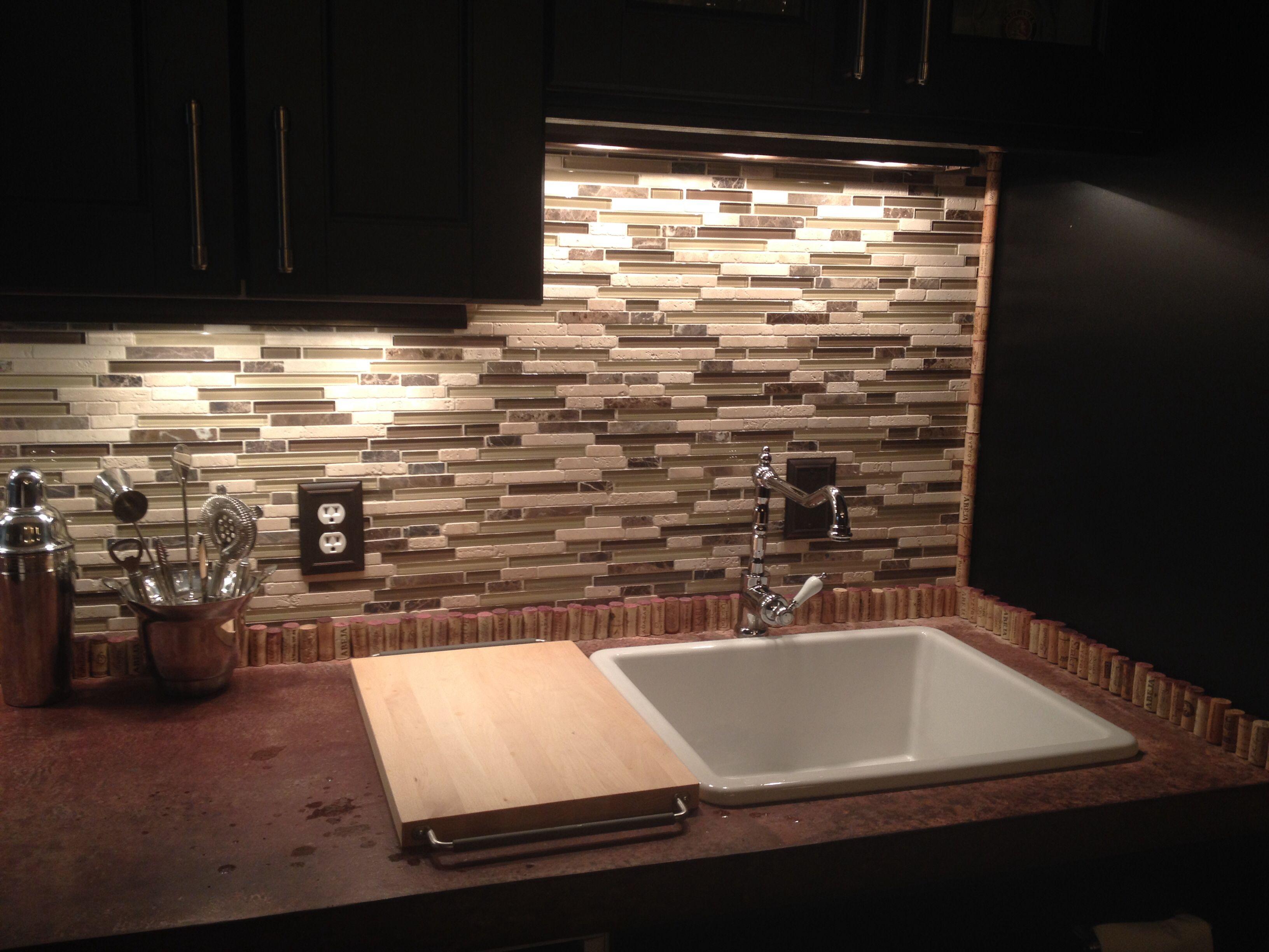 - Tile Backsplash With Wine Cork Border. Home Projects, Tile