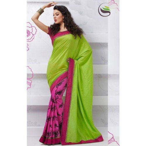 ba8b458612fdf New rich look green and pink art silk printed saree with blouse - Online  Shopping for Designer Sarees by Saree Swarg