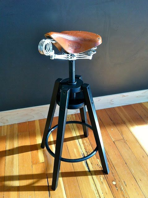 Dalfred Stool With Brooks Saddle Bicycle Chair Design