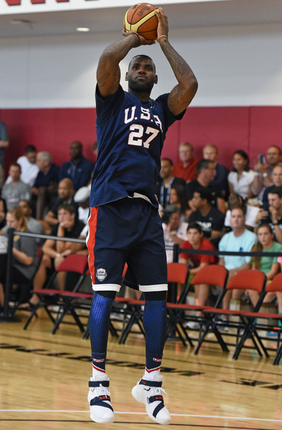 5398e2488843 Lebron James At a three-day minicamp with the national team wearing nike lebron  soldier 9 #nike #lebron #soldier9 #nikesoldier