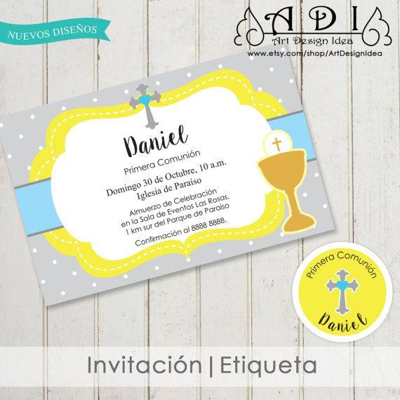Invitacion de comunion niño imprimible primera comunion invitaciones ...