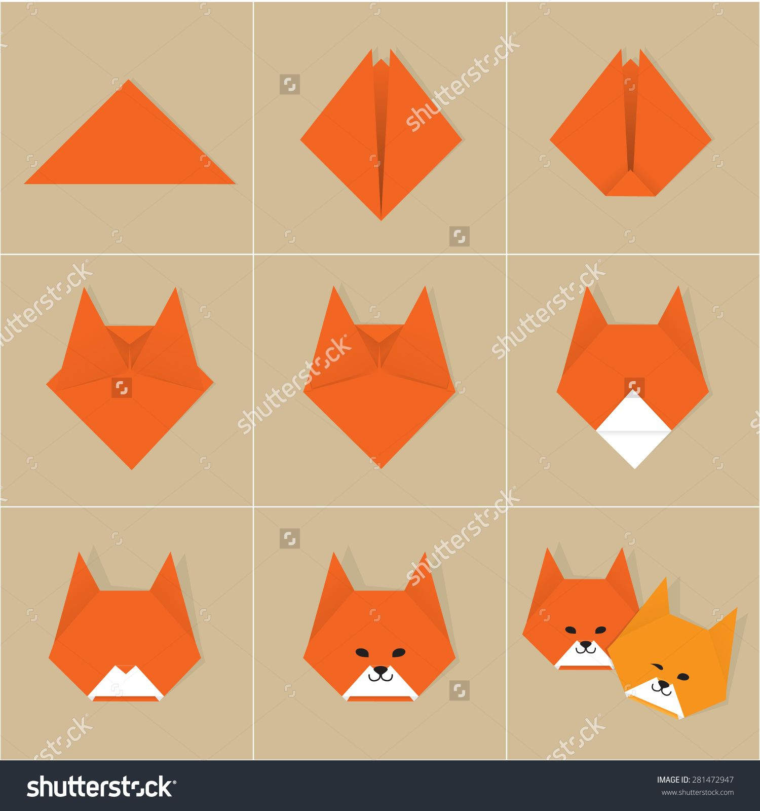 Stock vector step by step instructions how to make origami fox origami jeuxipadfo Gallery