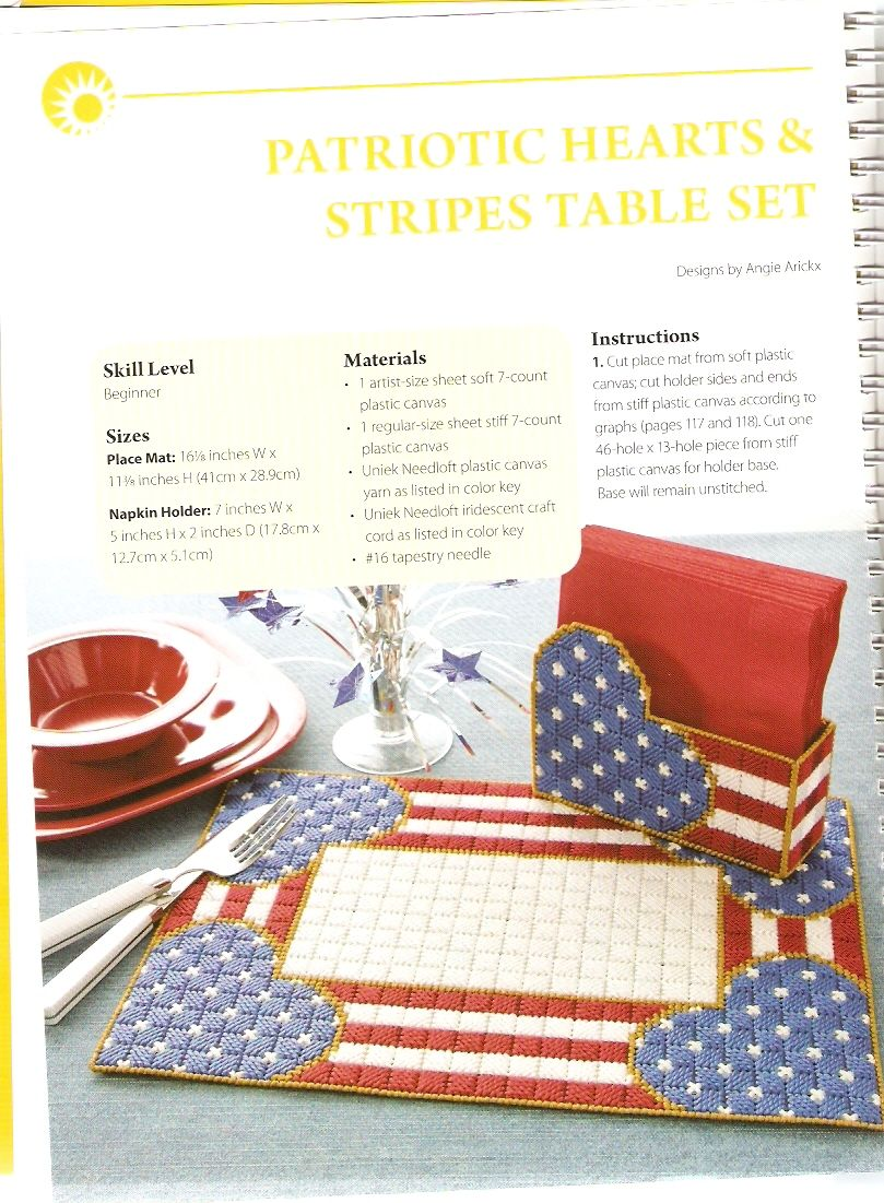 Patriotic Hearts Stripes Table Set By Angie Arickx 1 3 Happy Holidays In Plastic Canva Plastic Canvas Crafts Plastic Canvas Patterns Plastic Canvas Coasters