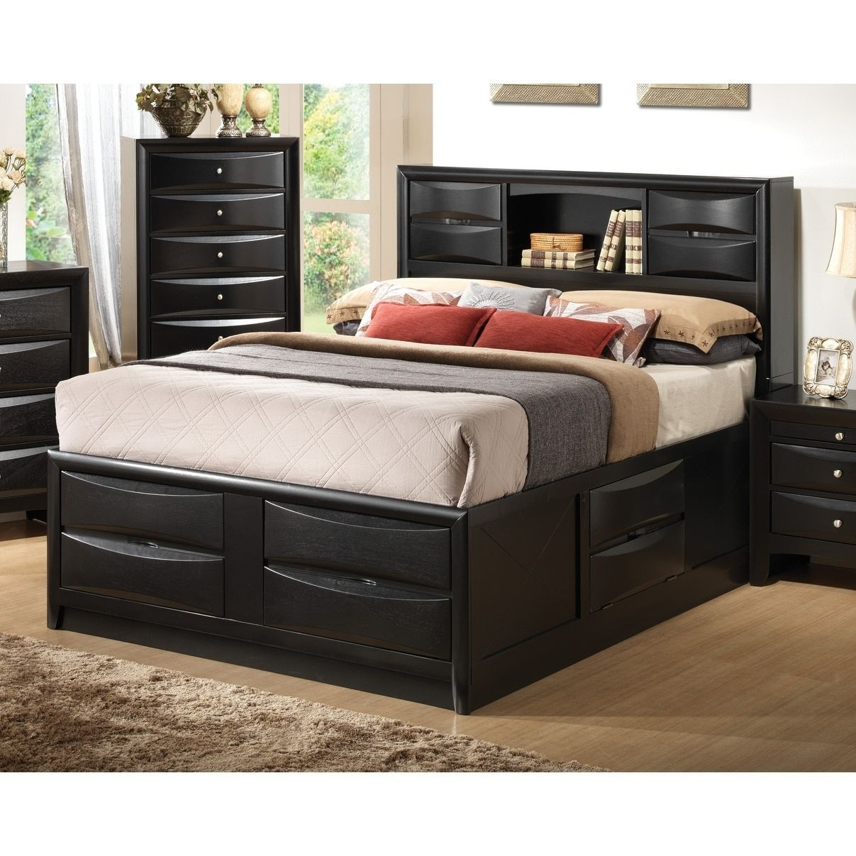 Jazz Black Storage Bed Queen Bed Frame With Drawers Bed Frame