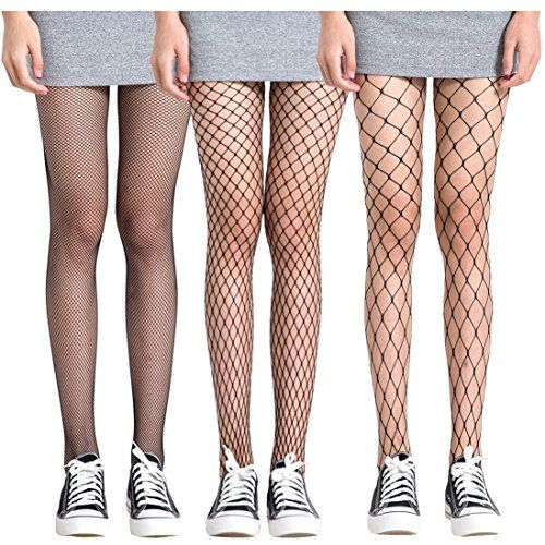 45a1c315019 FAYBOX 3 Pack Fishnet Stockings Hollow Stretchy Tights Seamless Sexy Net  Pantyhose Women
