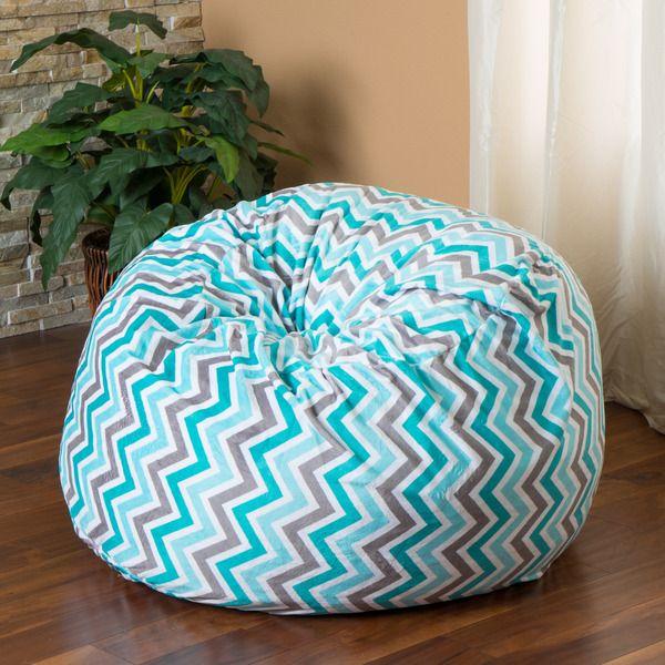 Home Decor 3 Foot Teal Chevron Stripe Design Fabric Bean Bag Lounge Chair