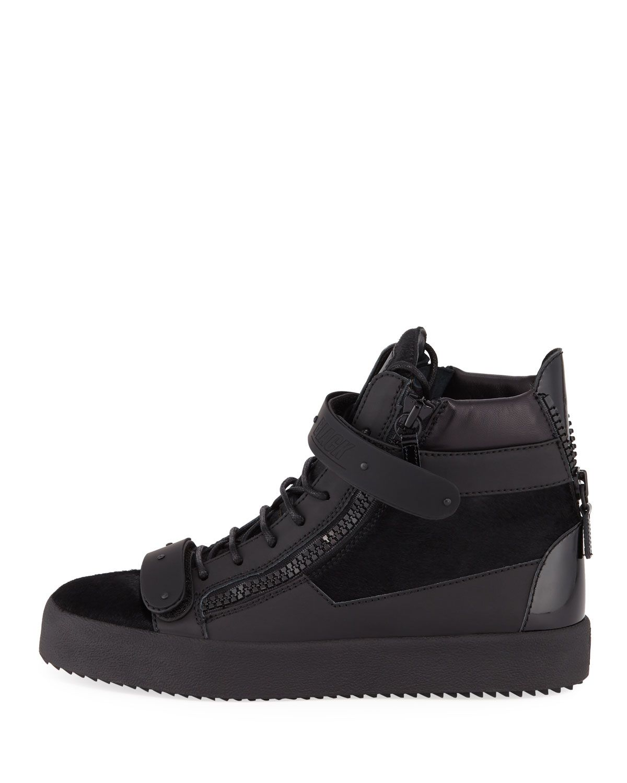 31e7fc47b8085 Giuseppe Zanotti Men's Monochrome Double-Strap Calf-Hair High-Top Sneakers