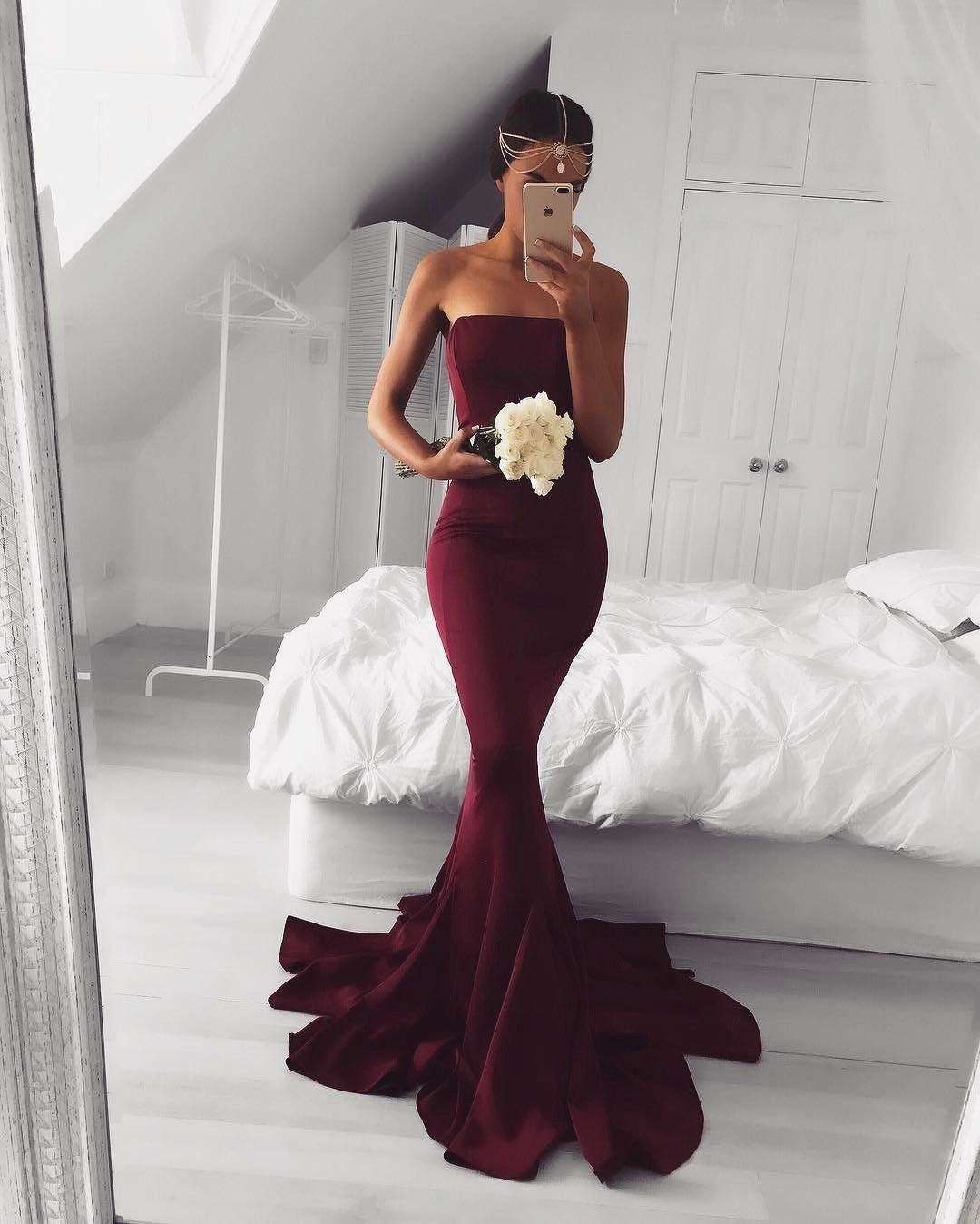 2017 Prom Dress, Sexy Mermaid Burgundy Prom Dress, | Wedding ...
