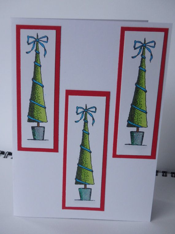 3 Handmade Christmas Tress Card and Envelopes Cards as pictured, all handmade using rubber stamps. All cards are white on the inside with no message included, meaning you could use them for almost any occasion. Exact colours shown may vary depending on delivery depend on each device screen. If you want to purchase a different mix of cards, please contact me with which you would like.