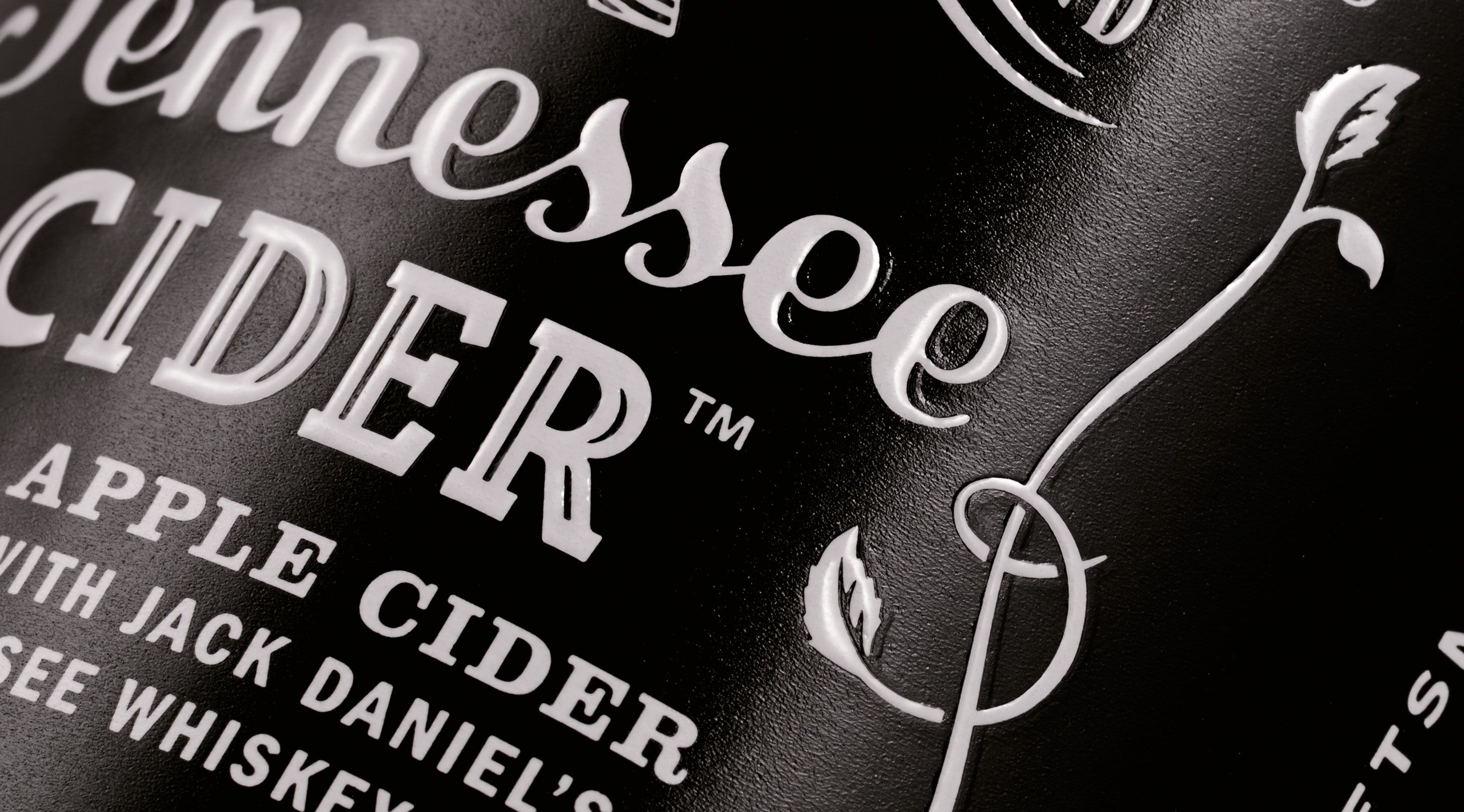 Jack Daniel's / Design / Branding / Tennessee Cider / Cider / Hard Cider / Apple / Whiskey / Old No.7 / Emboss / White Foil /  Black & White