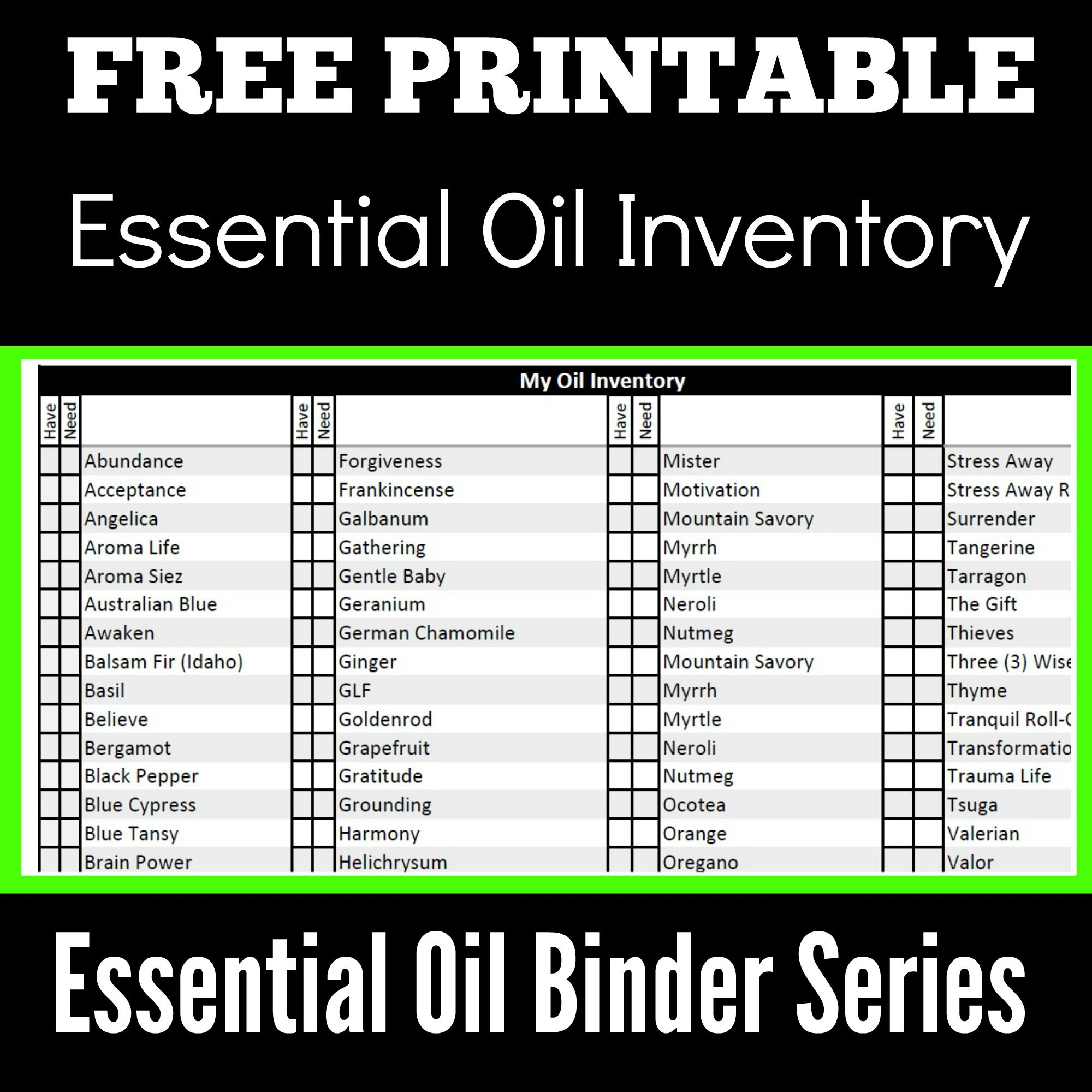 Essential Oil Binder Series – Part I – Essential Oil Inventory ...