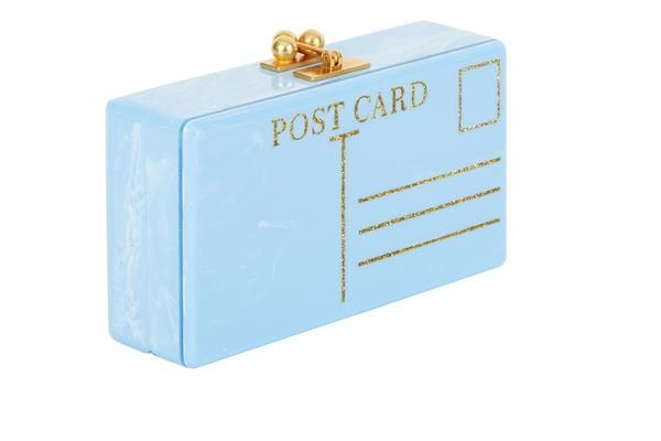 E Parker Jean Postal Light Blue Marble Design Handbag Clutch Gold Clasp