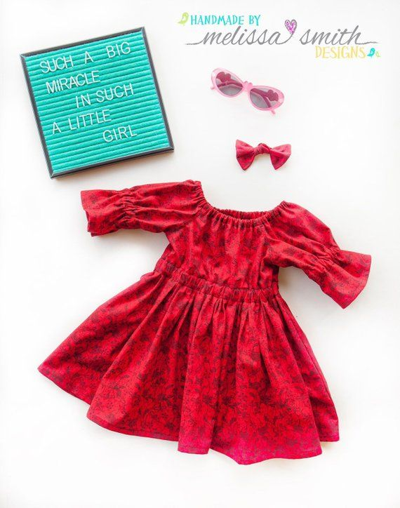 c9b8132ee6cfb Little Girl Fall Dress, Holiday Outfit, Red, Floral, Baby Girl Dress, Toddler  Dress, Twirl Dress, C