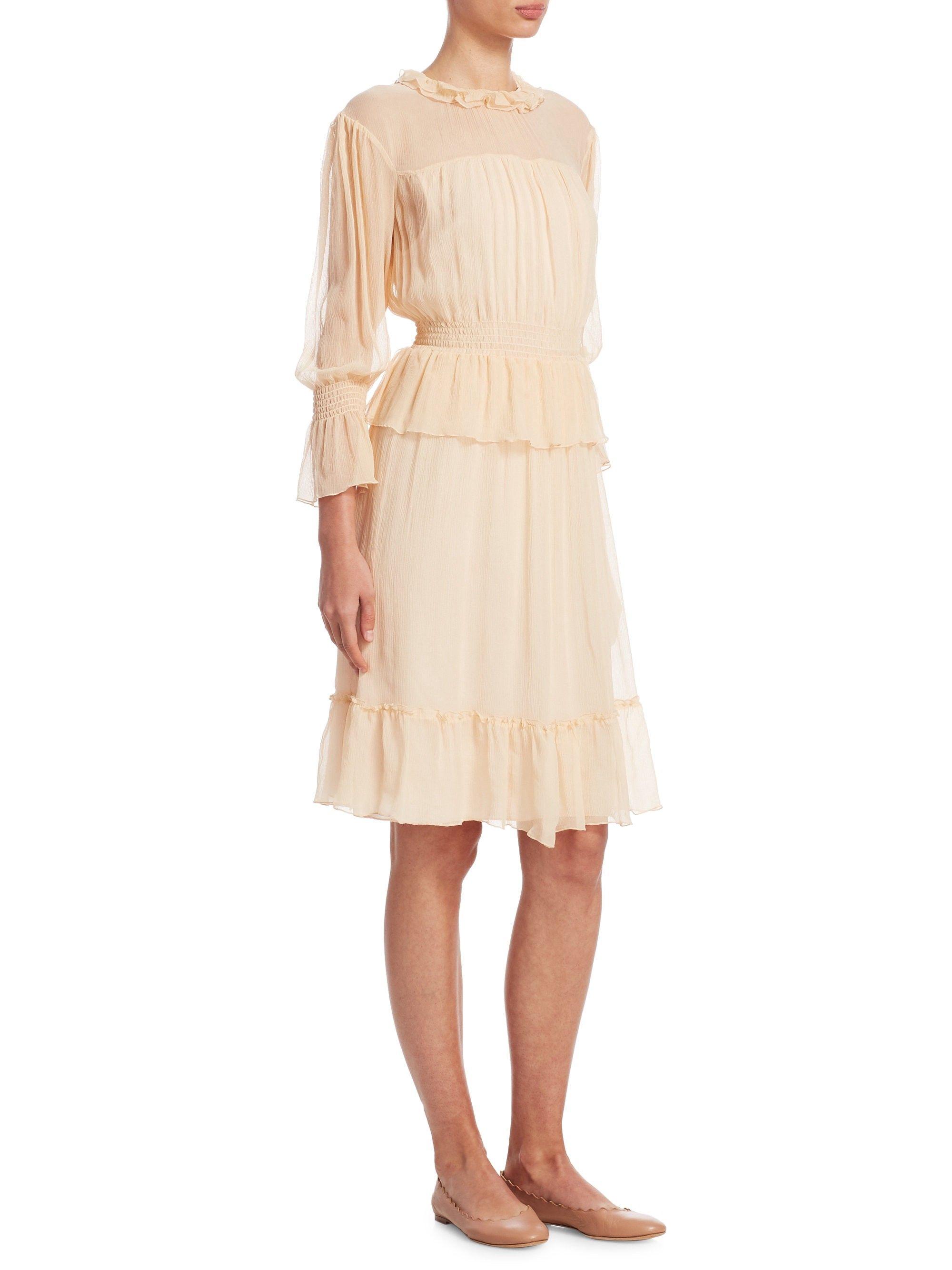 6ac408e04d4 See By Chloé Silk Flounce Dress - Honey Nude 44 (10)