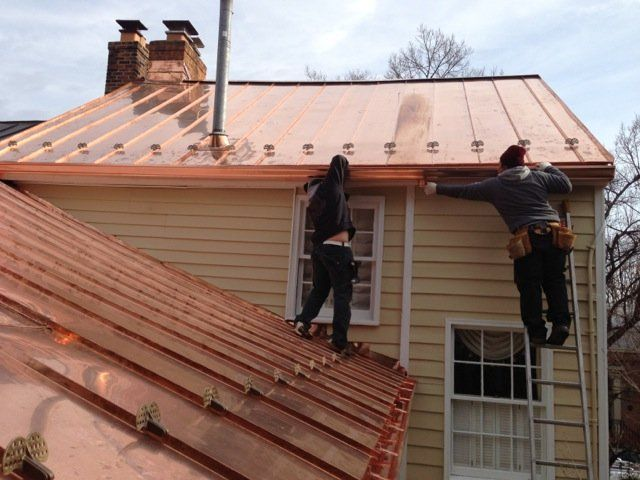 Copper Gutters On Standing Seam Copper Roof Roofrepairideas Copper Roof Standing Seam Gutters