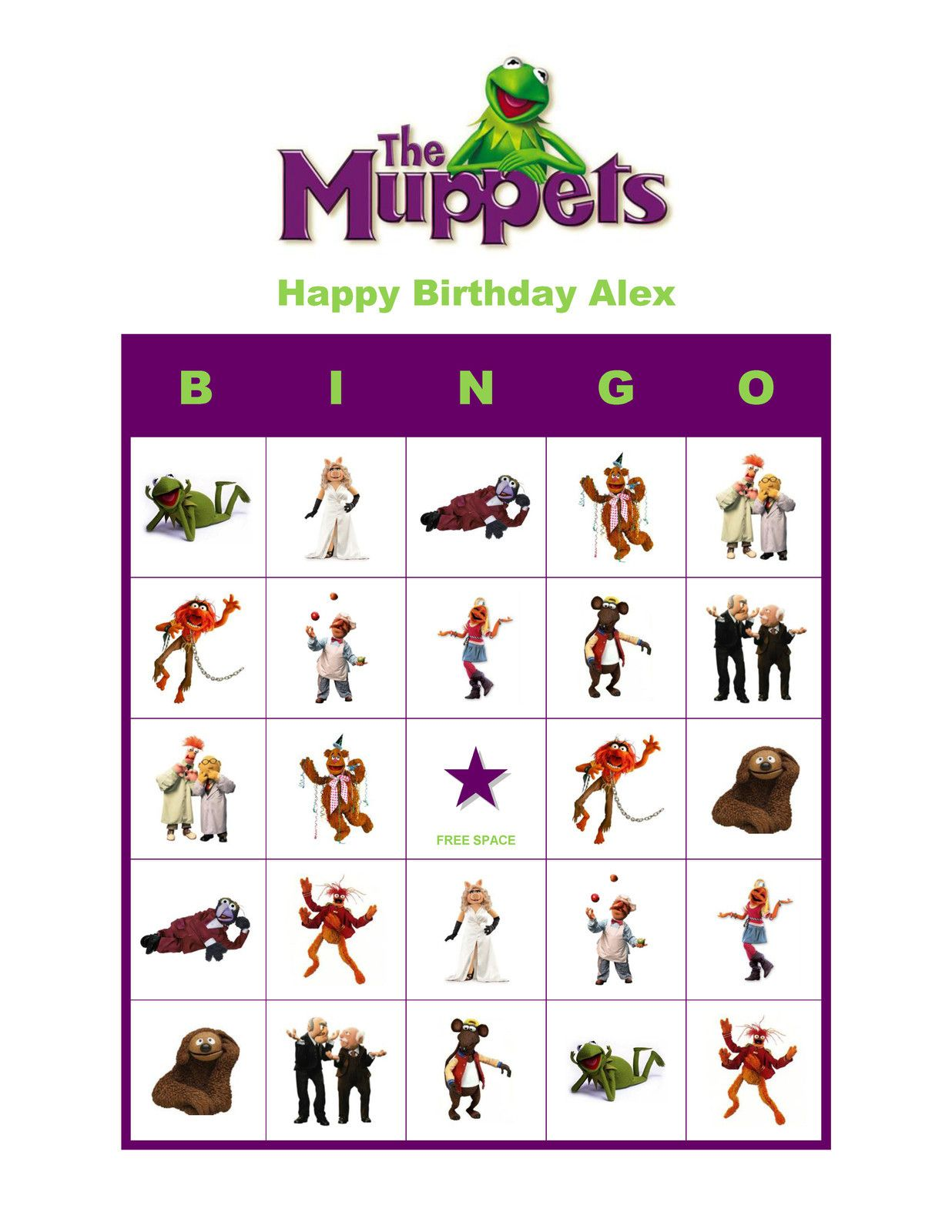 The Muppets Birthday Party Game Personalized Bingo Cards