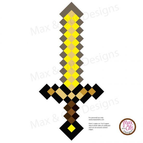 Minecraft Gold Sword Printable Pdf Con Imagenes Manualidades