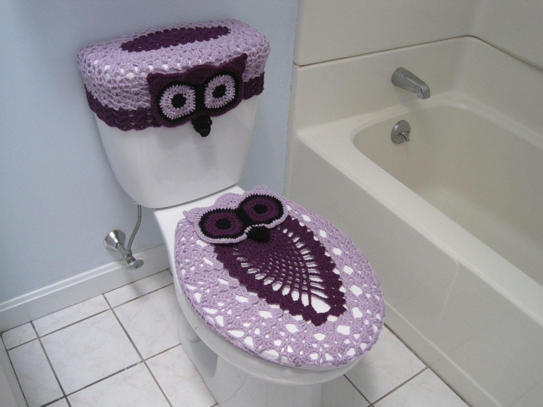 Stupendous Crochet Set Of Owl Toilet Tank Lid And Toilet Seat Covers Dailytribune Chair Design For Home Dailytribuneorg