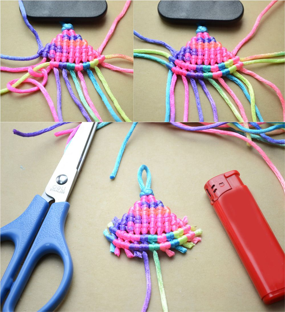 How to make a charm necklace out of the 2mm nylon thread for Stuff to make with string