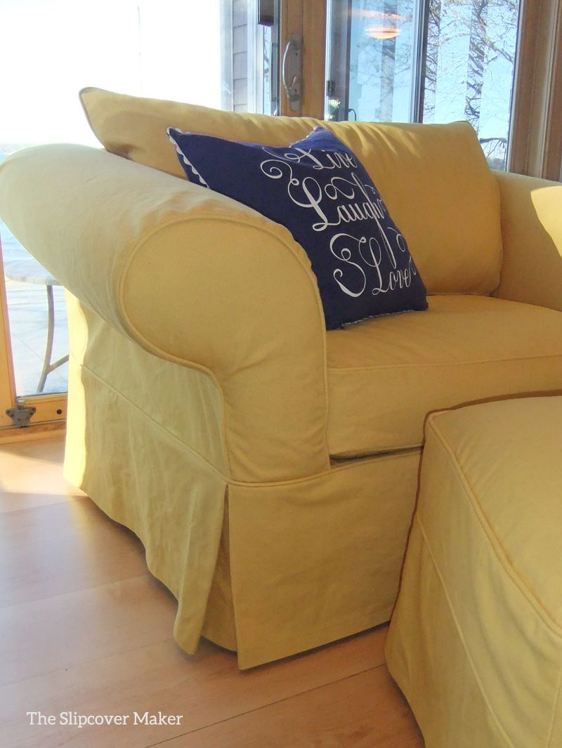 Admirable Cheery Yellow Denim Slipcover Slipcovers Oversized Chair Andrewgaddart Wooden Chair Designs For Living Room Andrewgaddartcom