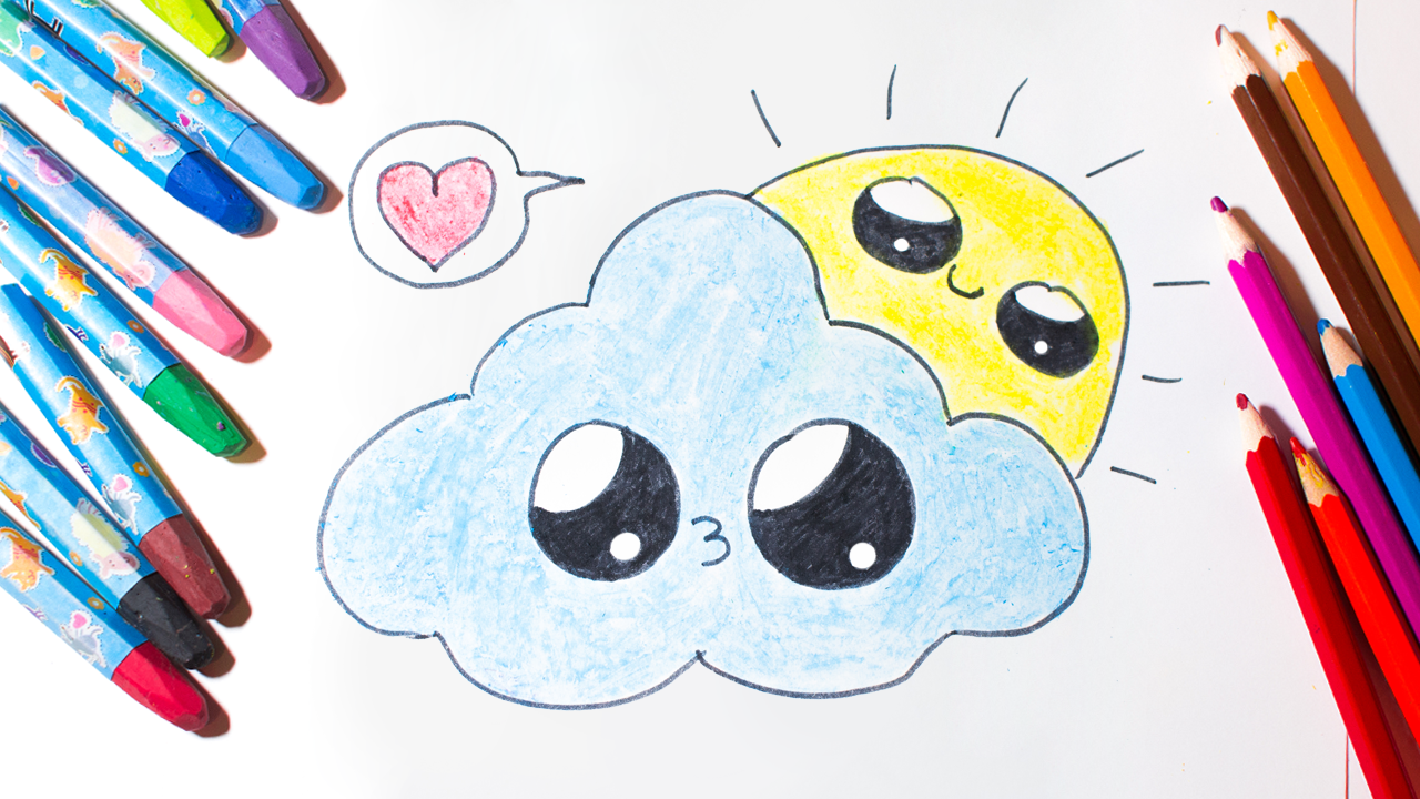 Let S Draw A Cute Cloud And Sun A Very Simple Drawing For Your