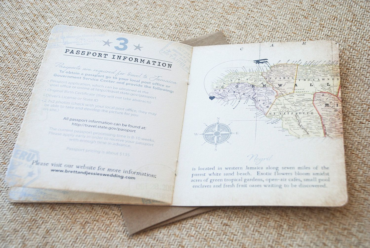 Vintage Passport Wedding Invitation (Jamaica) - Design Fee. $50.00 ...