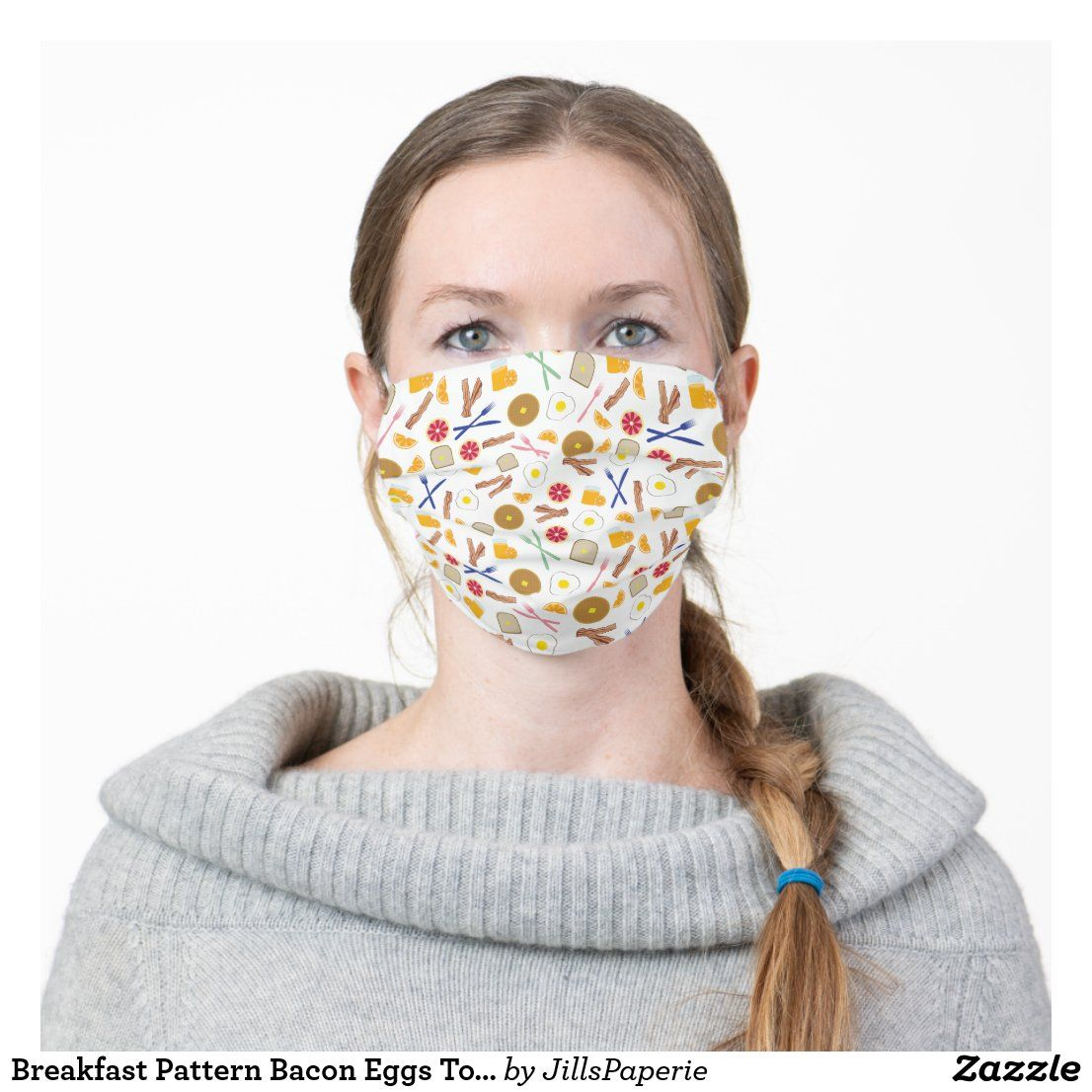 Photo of Breakfast Pattern Bacon Eggs Toast Waffles Food Adult Cloth Face Mask | Zazzle.com