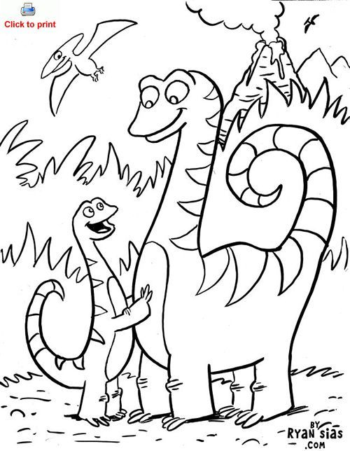 Cute Dinosaur Coloring Page Printable