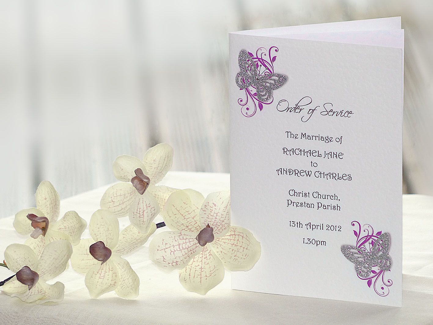 Butterfly & Floral Order of Service booklet
