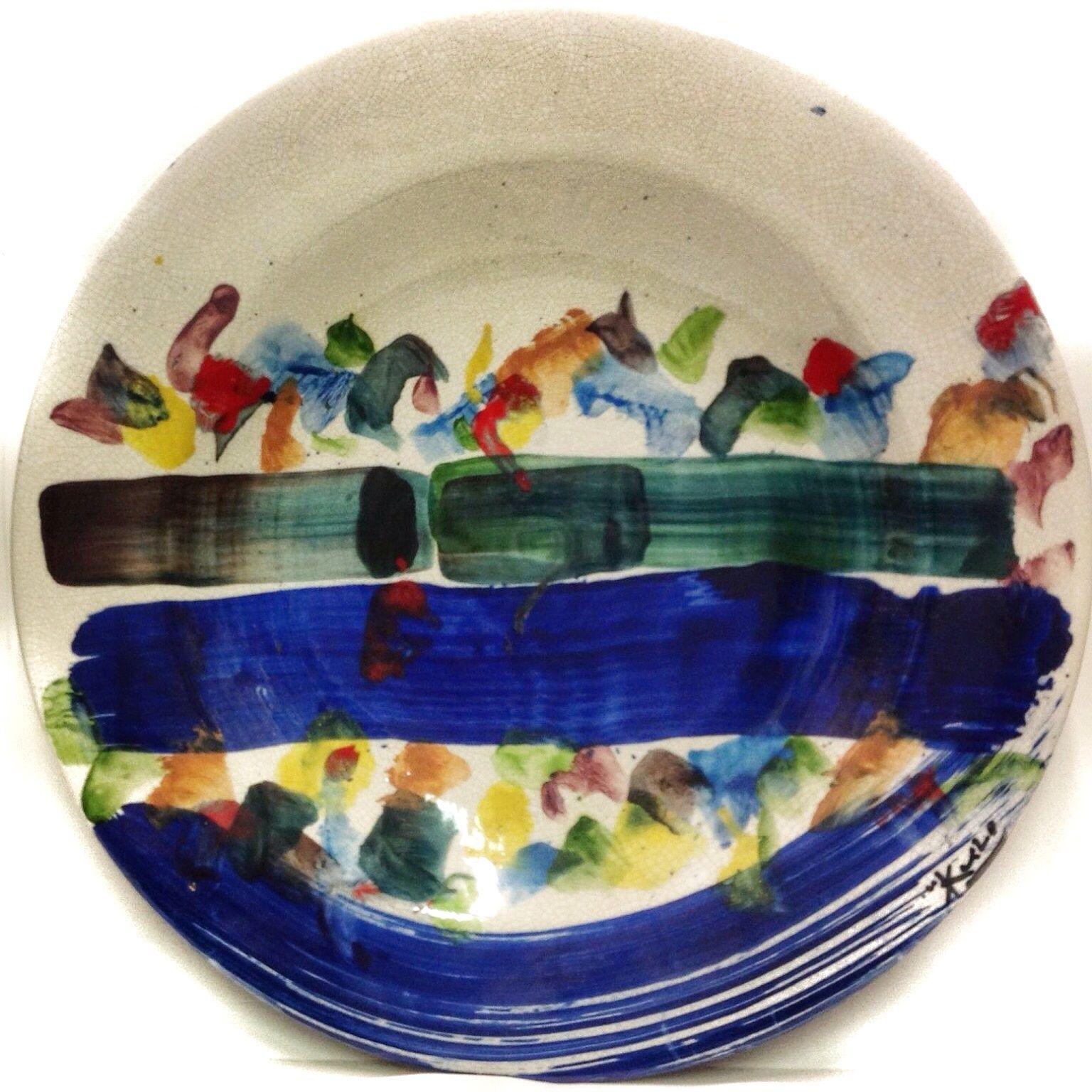 MORISHITA KEIZO (1944-2003) DIPINTO SU PIATTO IN CERAMICA 52cm PEZZO UNICO ☲☲☲☲☲☲☲☲☲☲☲☲☲☲☲☲☲☲☲☲ PAINTING ON CERAMIC PLATE (unique piece)