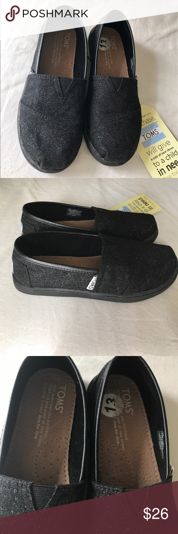31dc784cf410 Black glitter Toms Little girls size 13 Toms new never used, Toms Shoes  Slippers