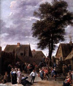 The Kermis at the Half Moon Inn (detail) - (David The Younger Teniers)