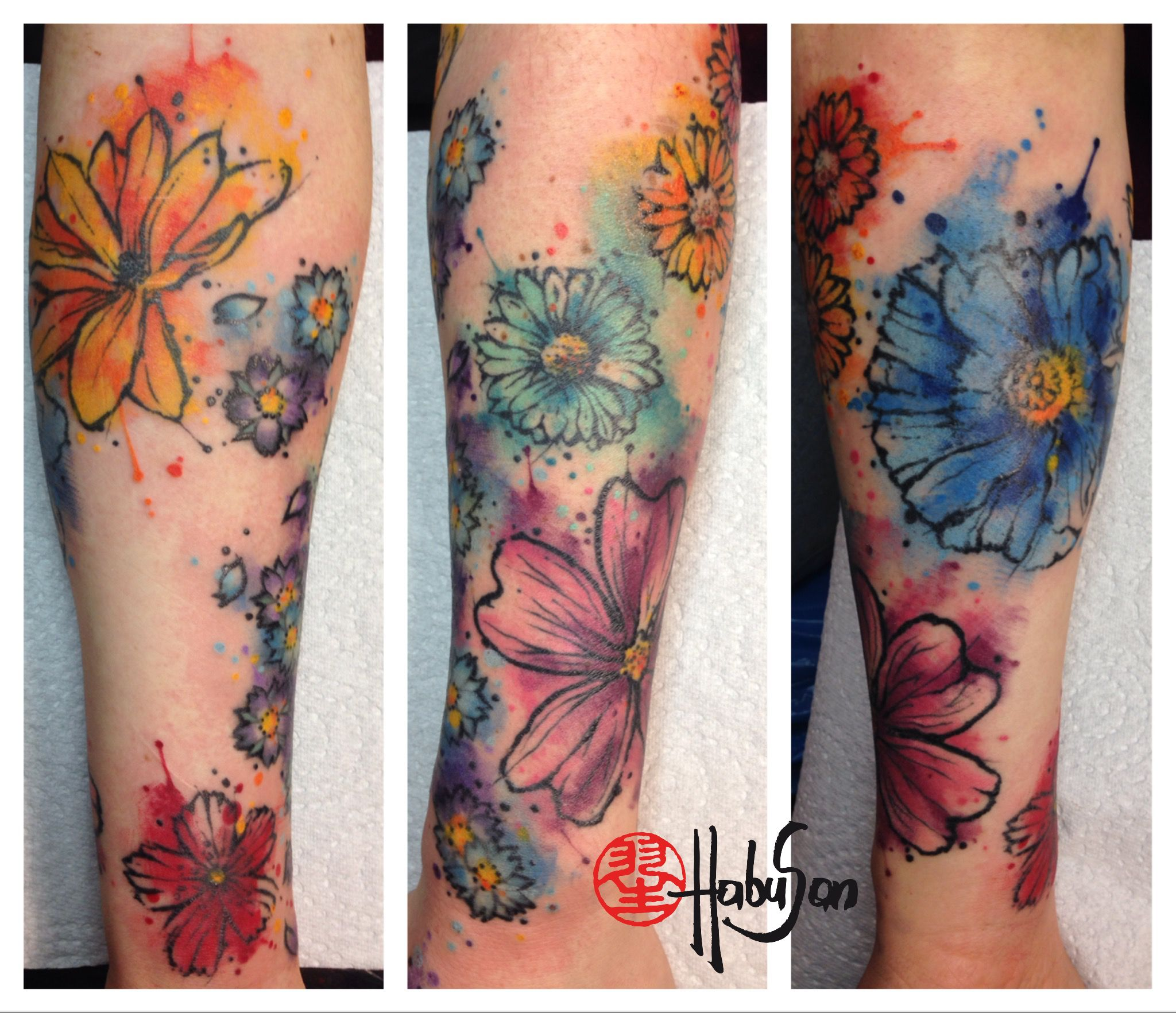 blumenslewce work in progress danke liebe julia tattoo habusan wien watercolour tattoos. Black Bedroom Furniture Sets. Home Design Ideas