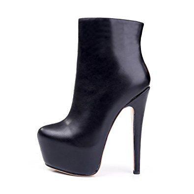 Günstige Damenschuhe in Schwarz Stiefel Plateau Stiefel