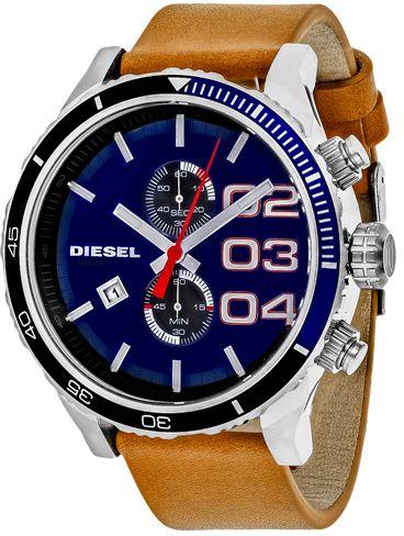 Diesel Double Down DZ4322 Men's Brown Leather Chronograph Watch