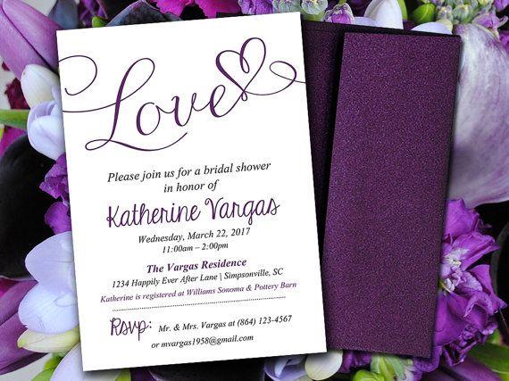 Bridal Shower Invitation Template - Eggplant Plum Purple  - bridal shower template