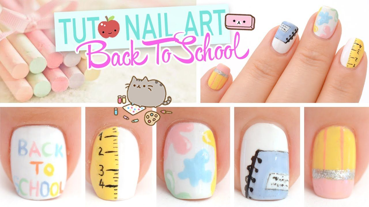 Tuto Nail art ♡ Back To School | Nail art | Pinterest