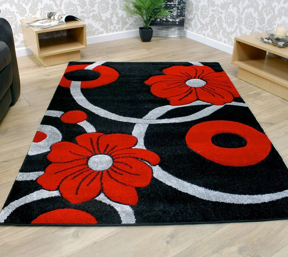 Details About Black Grey And Red Circle Flowers Pattern Modern Style Rug 2 Sizes Large Room Rugs Crochet Carpet Geometric Rug