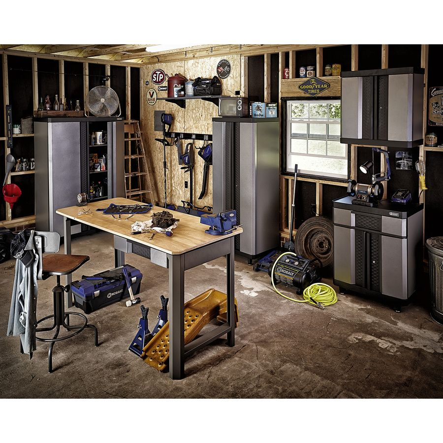 Kobalt 72 In W X 38 5 In H Wood Work Bench Lowes Com Garage Cabinets Workbench Free Standing